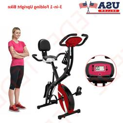 3 in1 Folding Magnetic Upright Exercise Bike Indoor LCD Moni