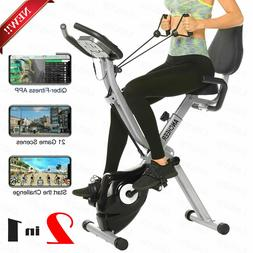 ANCHEER 2-in-1 Stationary Bike Folding Indoor Exercise with