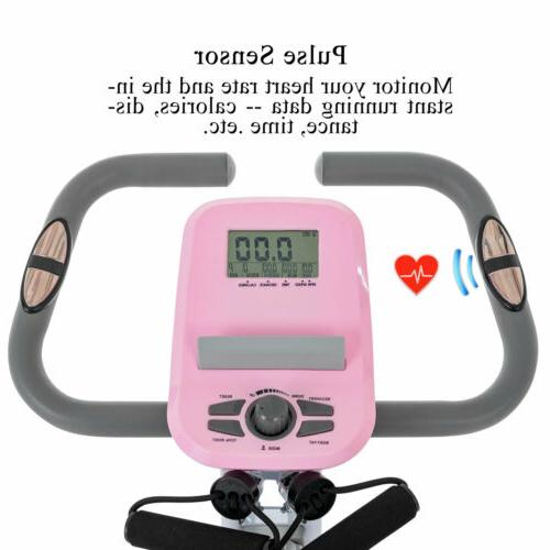 Stationary Upright Cardio Workout Cycling Magnetic Pink
