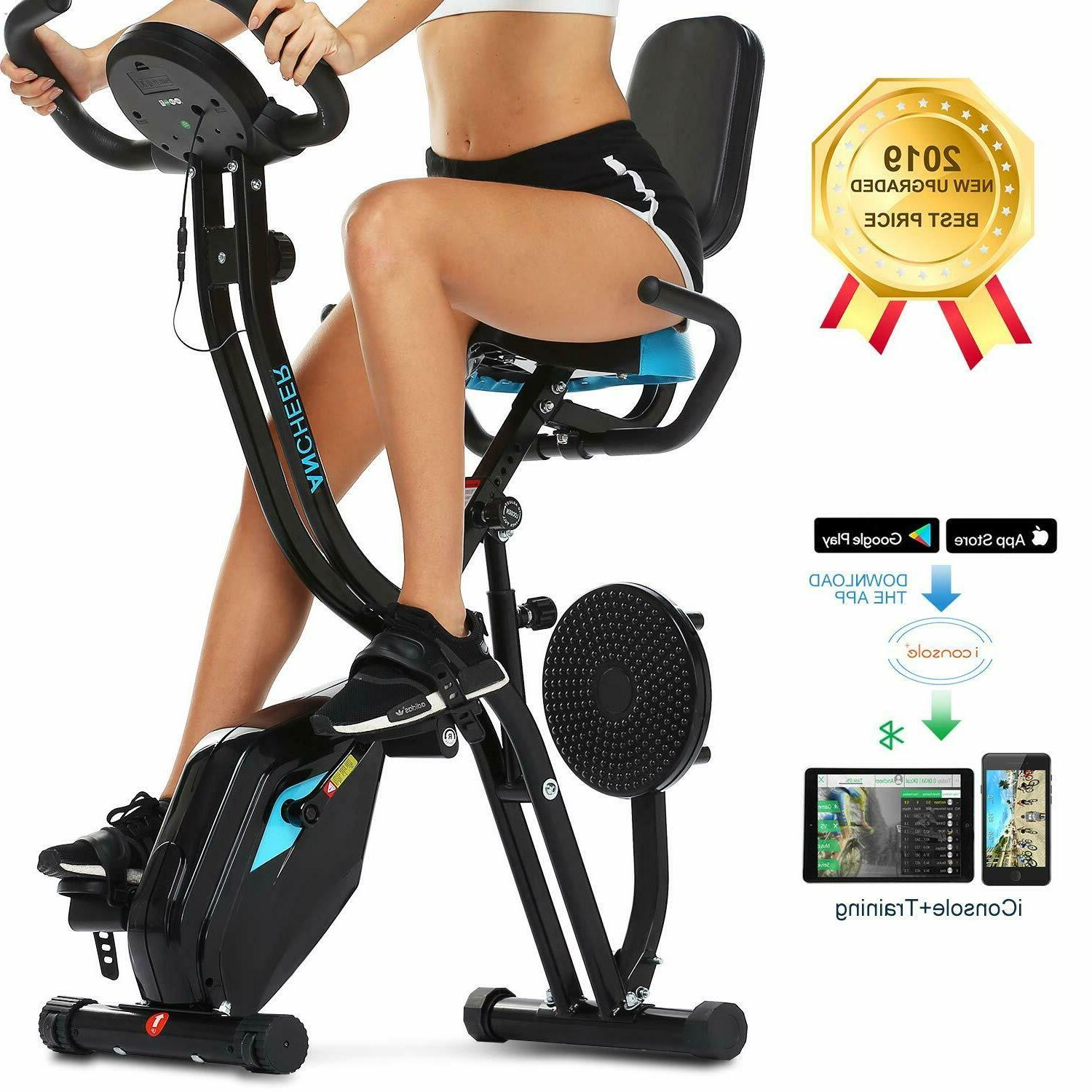 ANCHEER 3-in-1 Folding Stationary Exercise Bike,Slim Cycle I