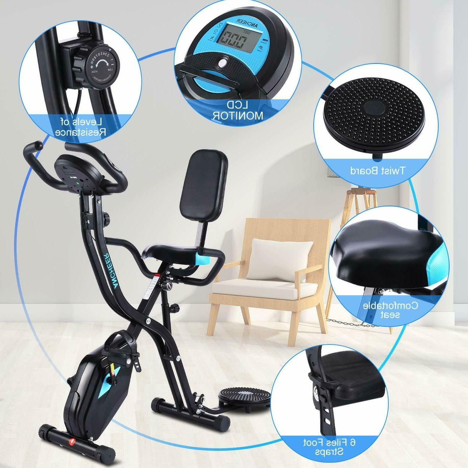ANCHEER 3-in-1 Folding Exercise Cycle Indoor w/10Level& LCD