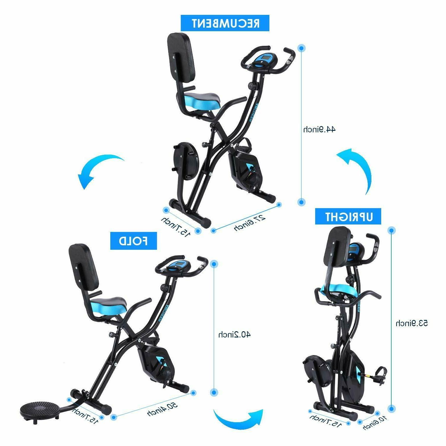 ANCHEER Folding Stationary Exercise w/10Level& LCD