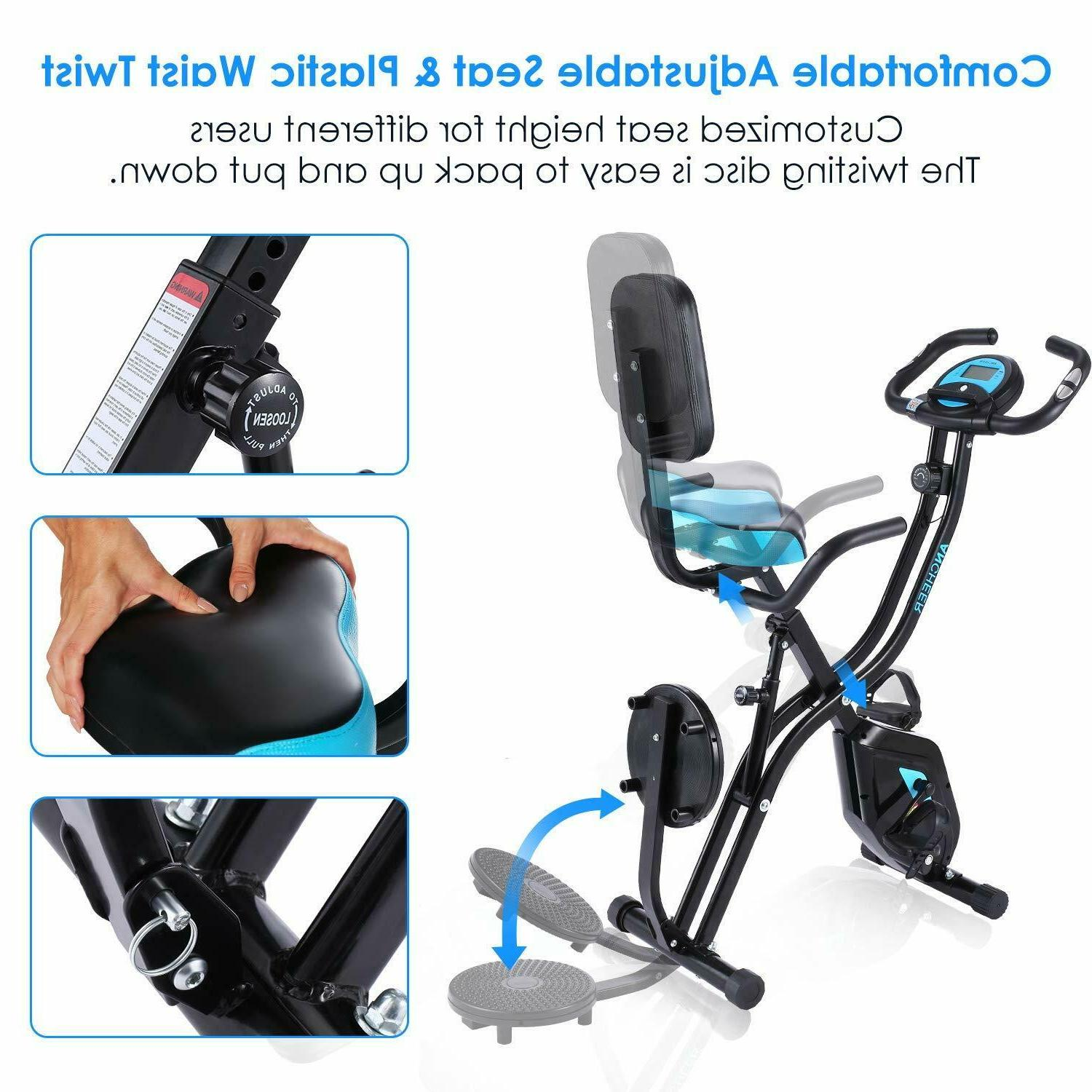 ANCHEER Exercise Folding Bike,3 Stationary Magnetic Cycle