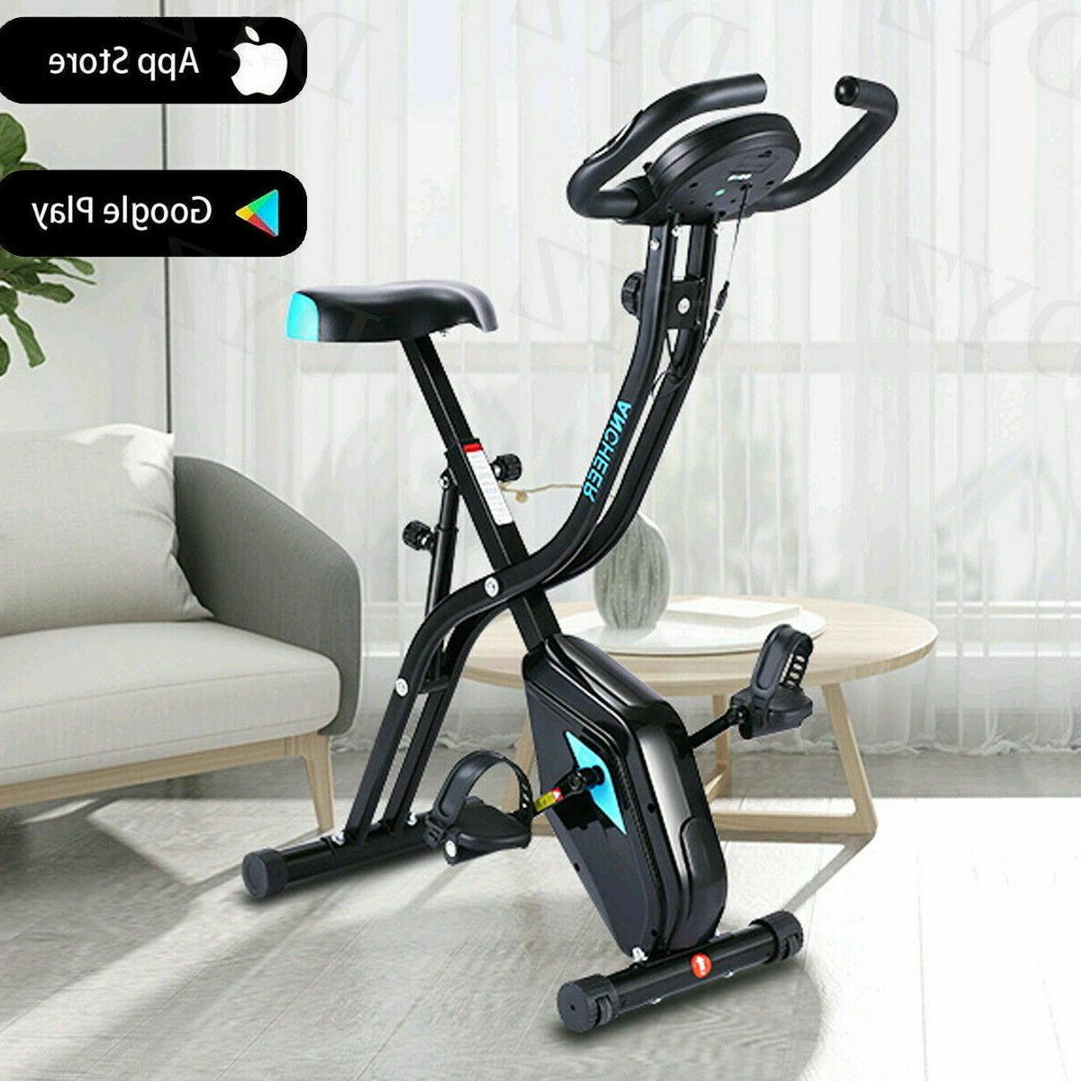 ANCHEER Folding Upright Exercise X-Bike Magnetic Stationary