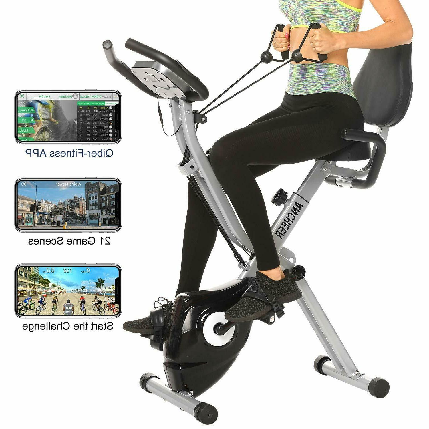 ANCHEER Indoor Exercise Slim Folding Bike 2-in-1 Stationary