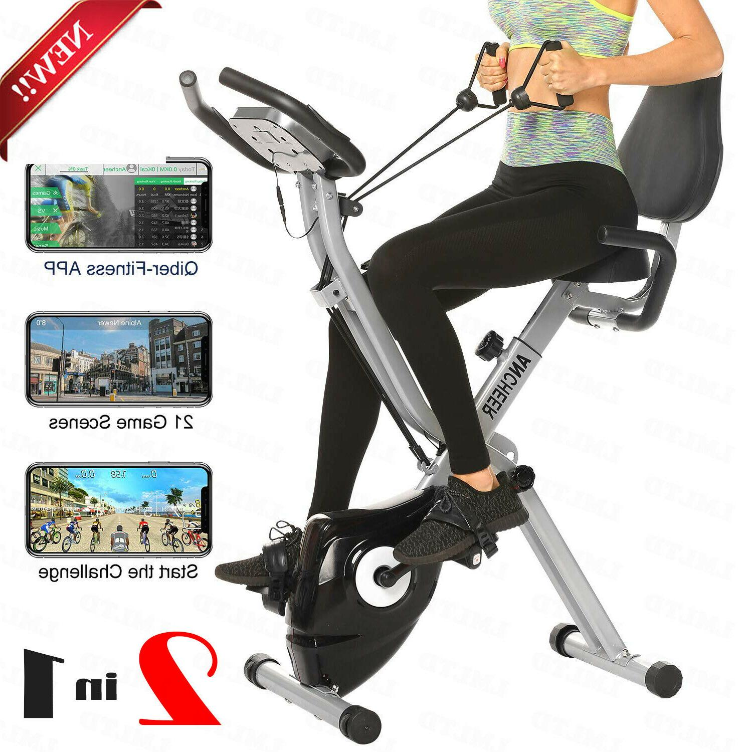ANCHEER Folding Exercise Bike with APP Simulation Game, Indo