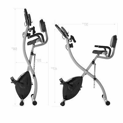Folding Stationary Upright Indoor Cycling Bike with Resistance