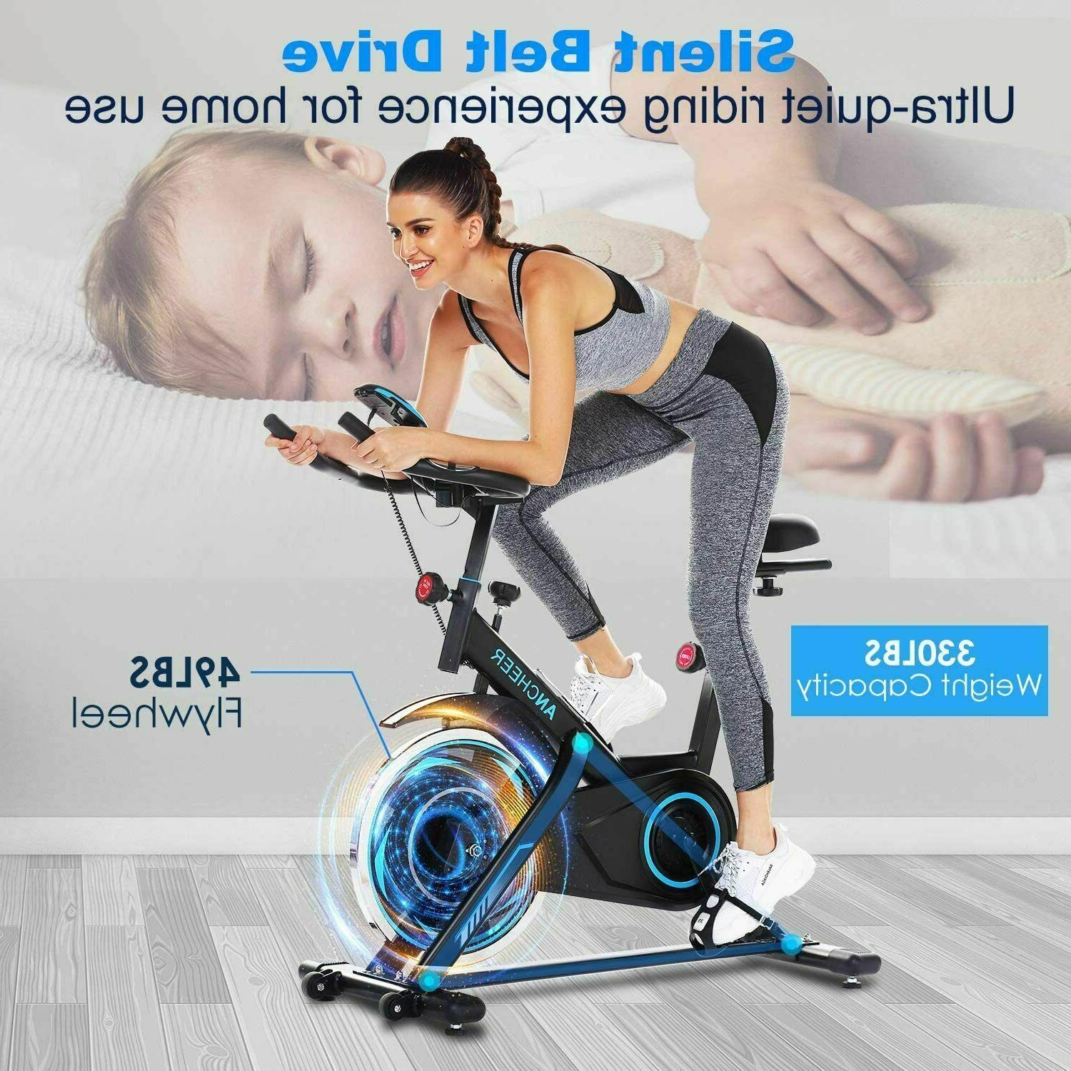 ANCHEER Stationary, Cycling Bike w/ Heart Rate