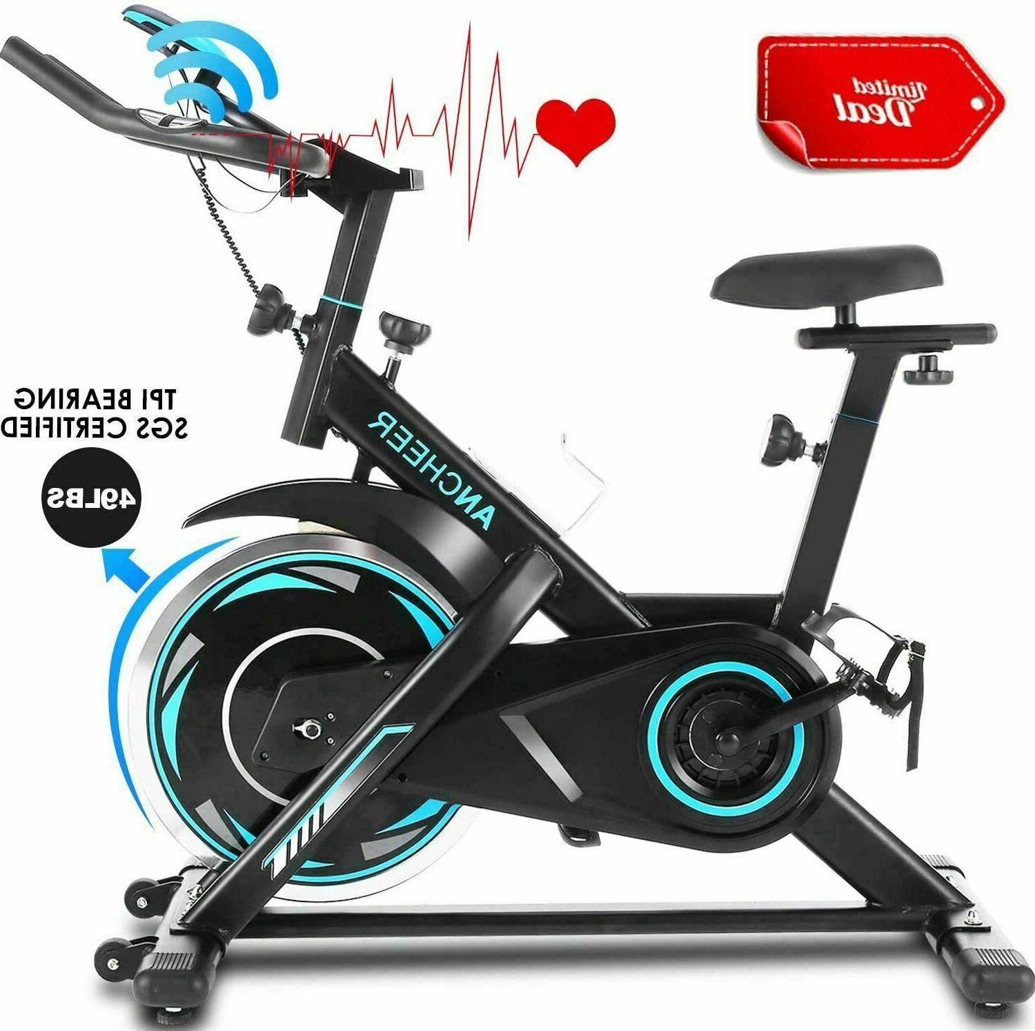 ANCHEER Indoor Exercise Stationary, Cycling w/ Heart Rate