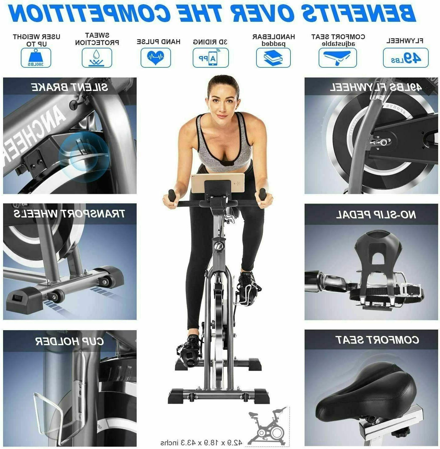 ANCHEER Exercise Stationary Bicycle Fitness Workout//