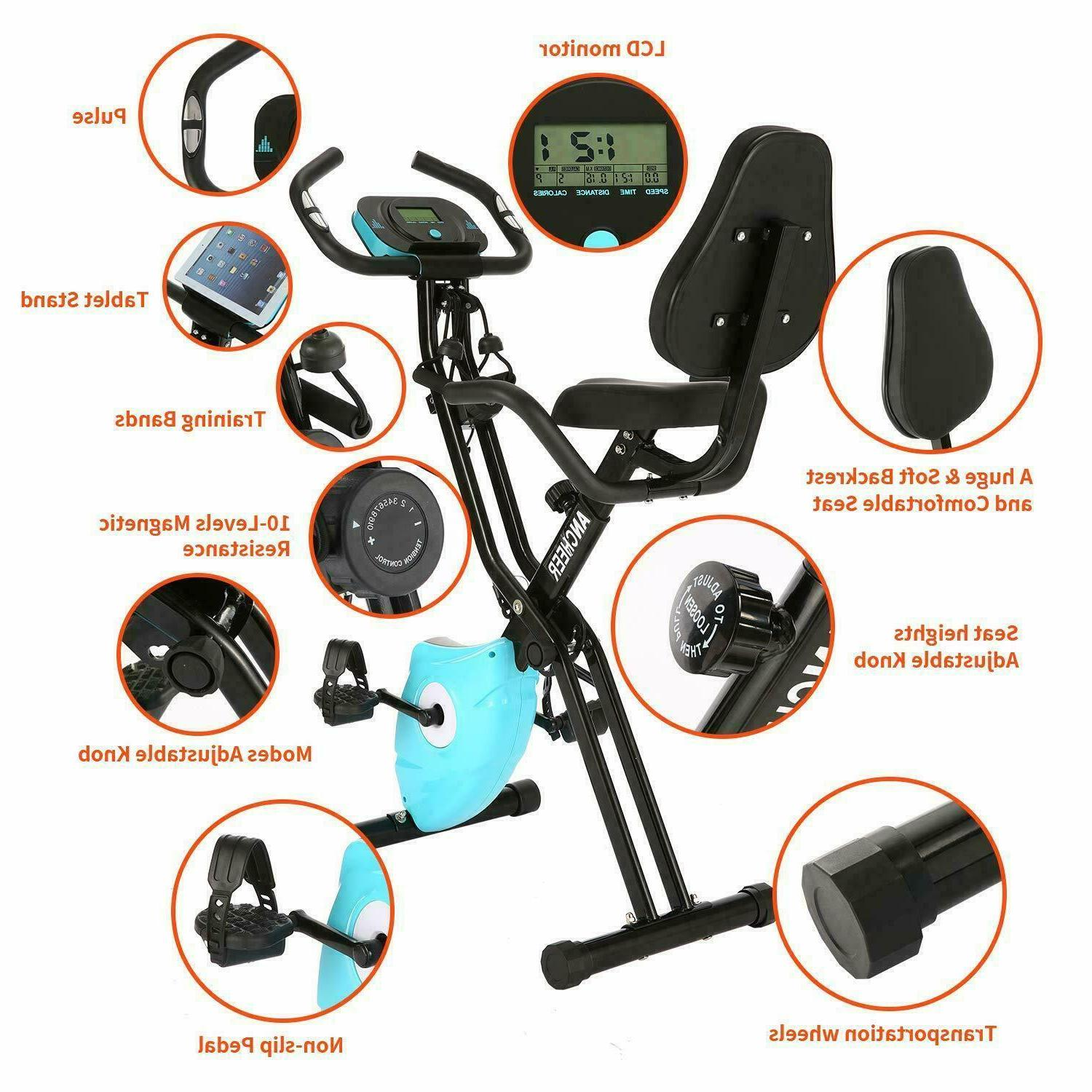 ANCHEER Indoor Exercise Slim Folding Bike 2-in-1 Stationary Magnetic