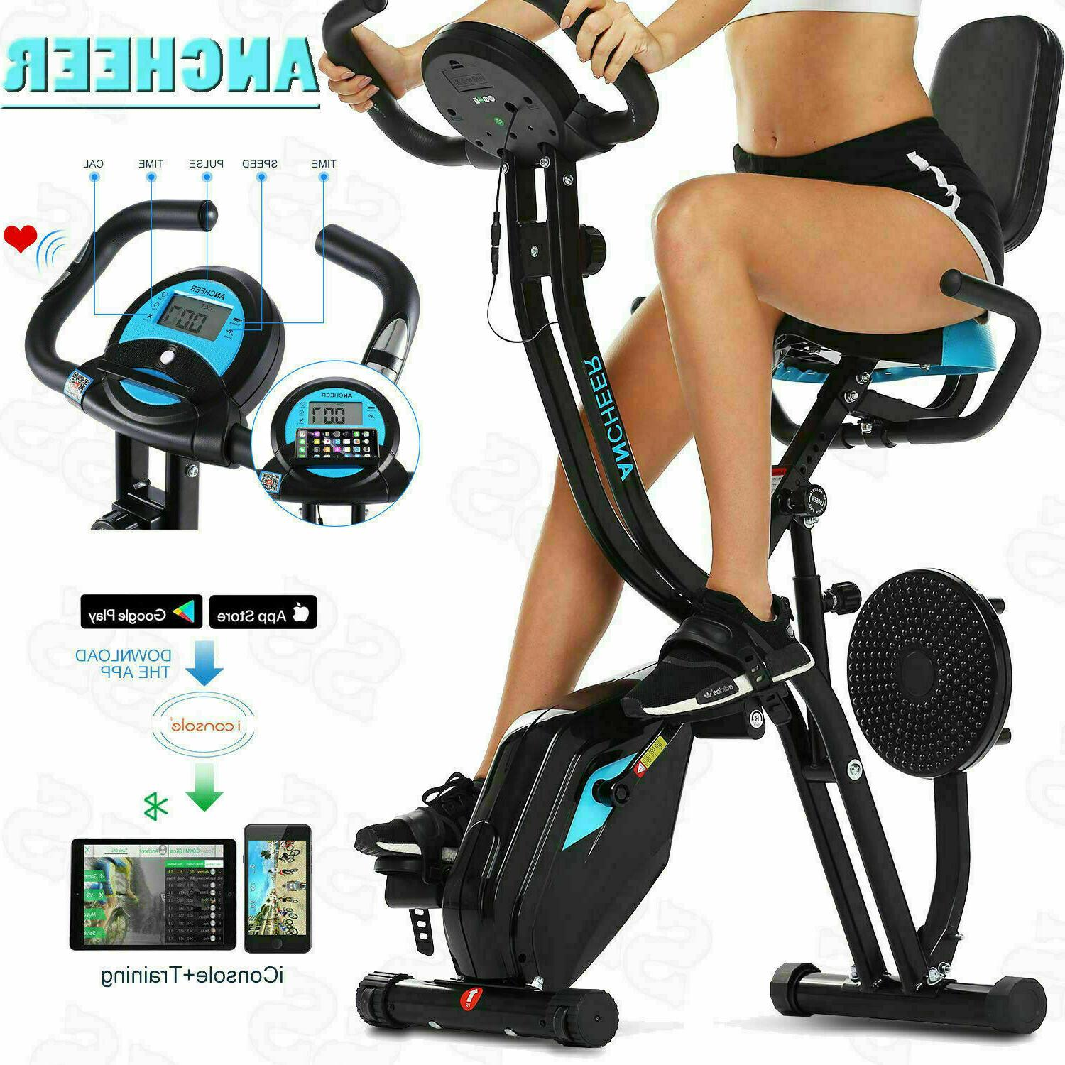 Indoor Exercise Slim Folding Bike 3 in1 Stationary Cycle Rec