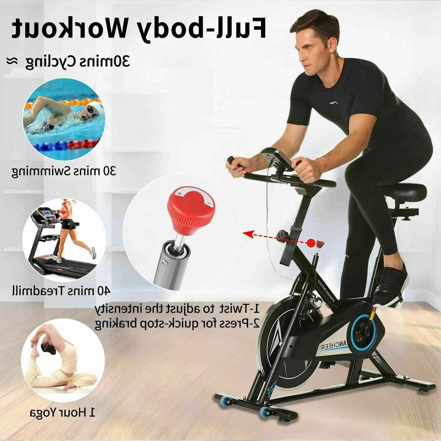 ANCHEER Stationary Bike, Indoor Drive w/ LCD