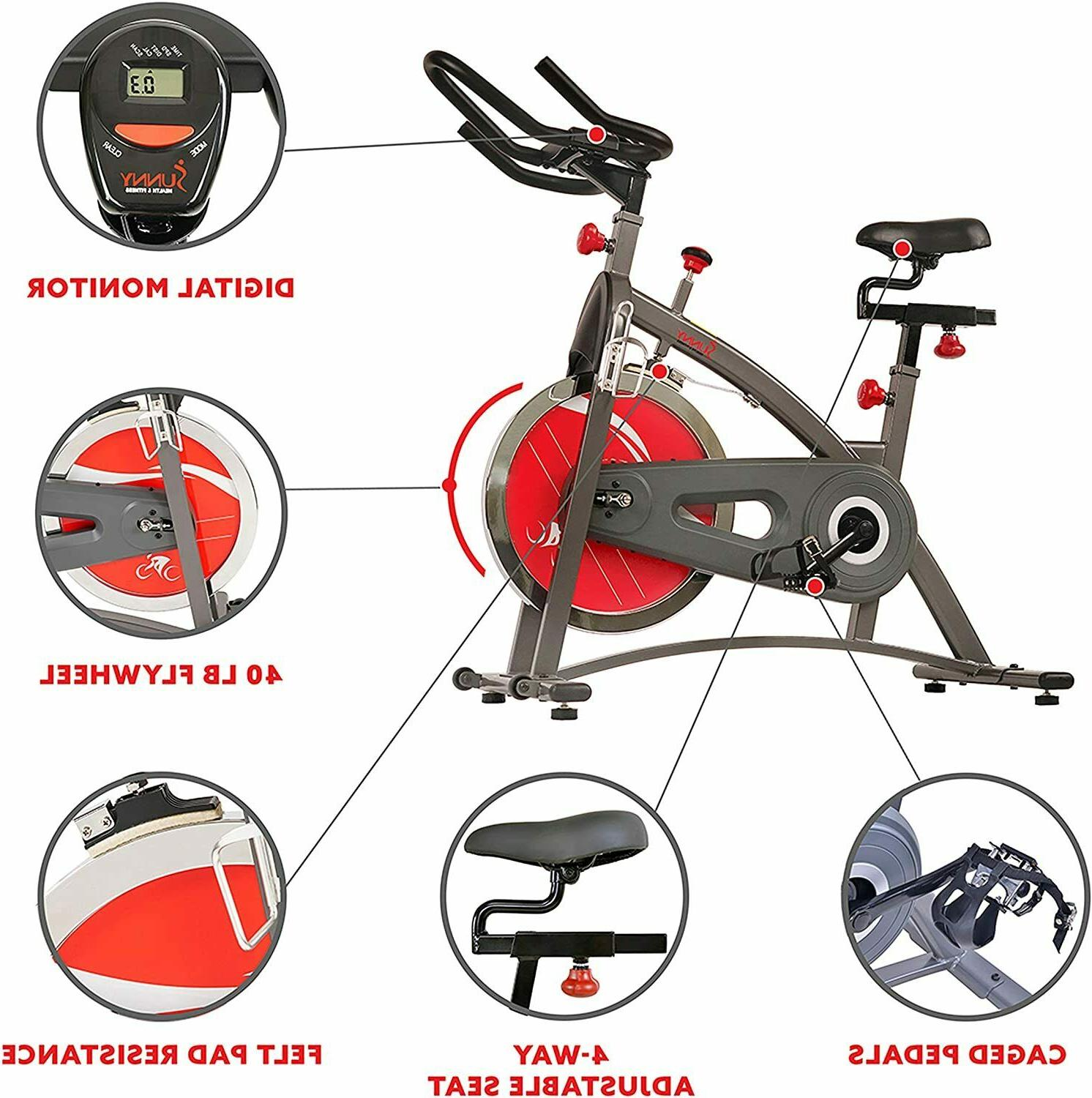 Sunny Health & Indoor Exercise Bike with Digital Display 40 LB